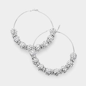 Jewelry - Bling Silver Shamballa Disco Beads Hoop Earrings